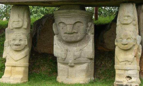 Statues in the archeological park of San Agustin, Colombia